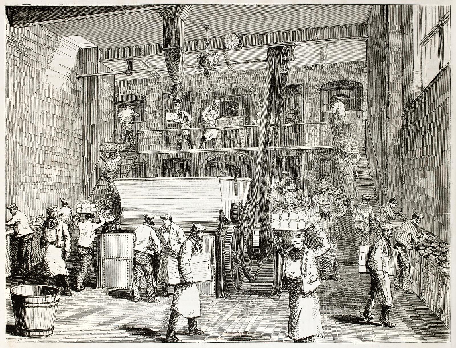 Stevens Company Bakery old illustration, London. By unidentified